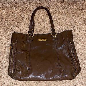 Coach brown patent leather large shoulder bag